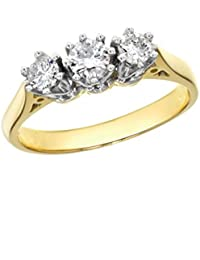 Aglaia (Gattung) 18 ct Gelbgold 0,50 ct 3 Diamanten Zinken Ring