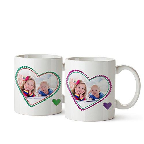 2 er Set Foto-Tasse mit Aufdruck - Personalisiert mit Namen und Foto - Persönliches Foto-Geschenk für Oma und Opa - Individuelle Kaffeetassen als Geschenkidee - Weihnachtsgeschenke