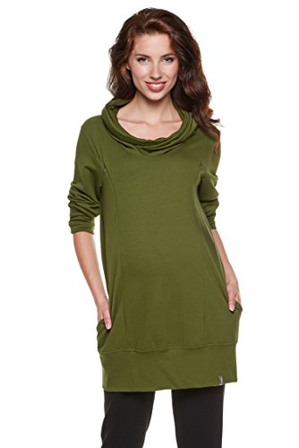 Pullover 2 en 1 pour maternité, sweat-shirt, pull pour allaitement, modèle : NELLA Kaki