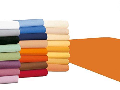 badtex24 Spannbettlaken 90 100 x 200 Spannbetttuch Bettlaken Jersey 100% Baumwolle 20 Farben Orange 90x190-100x200cm