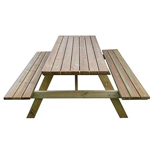Tavolo picnic 180x120xH70 legno robusto + panche seduta arredo giardino BD-46068 - 2