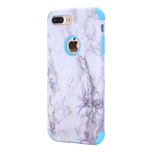 Cover iPhone 8 plus 5.5, Custodia iphone 7 plus, iphone 8 plus Silicone Cover, MoreChioce 360°Protection Moda Painting Colorato Marmo Modello Custodia, Ultra Slim Soft Silicone Gomma Morbido TPU Ragaz Marmo Blu