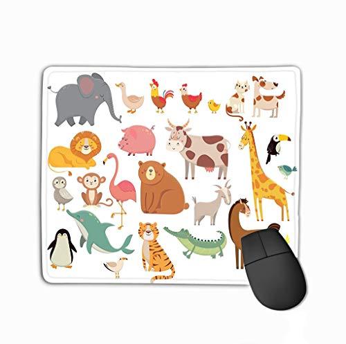 Mouse pad cartoon animals cute elephant lion giraffe crocodile cow chicken dog cat farm savanna animals cartoon animals steelserieskeyboard -
