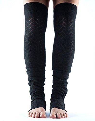 Toesox–Calcetines Talón Abierto Legwarmer para baile, Yoga, Pilates, Fitness–Fashion Legwarmer, negro