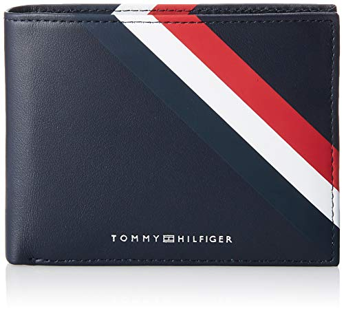 Tommy Hilfiger Herren Bold Corporate Cc Flap and Coin Kreditkartenhülle, Blau, 3x9.8000000000000007x12.8 cm