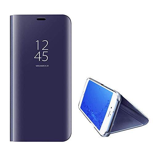 Yobby Spiegel Hülle für Samsung Galaxy A50,Ultra Slim Tasche Handyhülle Technologie Überzug Flip Case mit Clever Fenster Aussicht,360 Grad Komplett Stoßfest Stand Schutzhülle-Lila - Auf Reflektierende Eisen