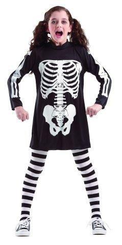 Kostüm Skelett Knochen Kind - Foxxeo Skelett Kostüm für Kinder Größe 116-122