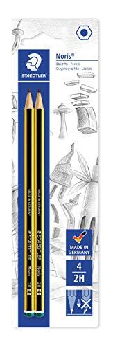 Staedtler 120-4 BK2D - Lápices de madera, 2H, paquete de 2, negro