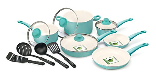 Ceramic Non-stick 14-piece Soft Grip Cookware Set Turquoise by GreenLife Healthy