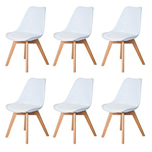DORAFAIR Set di 6 Moderne Sedie da Pranzo, Tulip Pranzo/Ufficio Sedia con Gambe in faggio Massiccio e Cuscini in Finta Pelle, Bianco