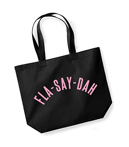 Fla-Say-Dah- Large Canvas Fun Slogan Tote Bag Black/pink