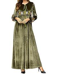 Qianliniuinc Donne Vestito Lungo Maxi Dress-Inverno Caldo Manica Lunga  Abiti Abaya Donna Islamico Ricamo f07442aa298
