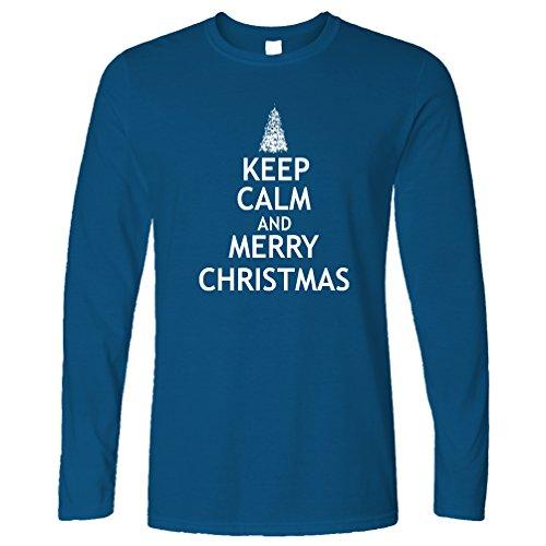 Weihnachten Langarmshirt Halten Sie Ruhe und Merry Xmas Royal Blue Medium (Baum Kleidung Royals)