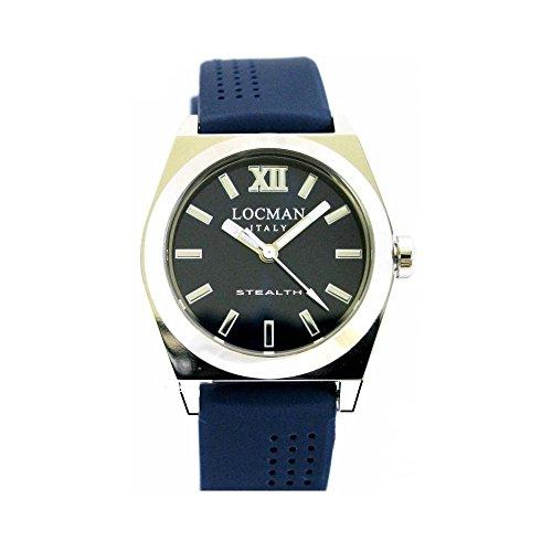 Montre Locman Stealth Baby 020400blfnk0sib au quartz (Batterie) acier Quandrante Bleu Bracelet silicone
