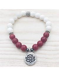 fd389fd7b331 MHOOOA Pulsera De Mujer De Piedra Rosa Pulsera De Piedra Blanca Lotus Charm  Yogi Regalos Meditación