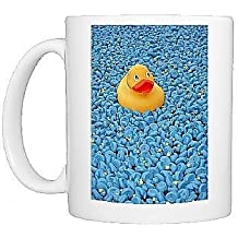 Photo Mug of Yellow Rubber Duck and blue ducks at Great British Duck Race by Prints Prints Prints