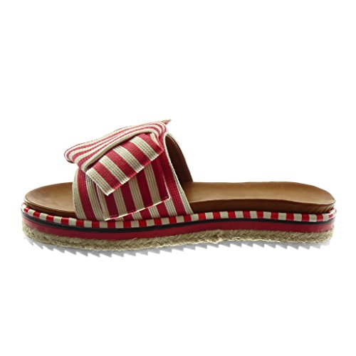 Angkorly Chaussure Mode Sandale Mule Slip-On Plateforme Femme Noeud Lignes Bicolore Talon Plat 3.5 cm Rouge 2