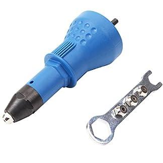 CCLIFE Juego eléctrico Remache Nuez Pistola Remachadoras Cordless Remachando Perforar Adaptador con 3 piezas Convertible Cabeza