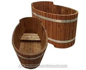 holz badewanne mit sitzbank set2 f r holzbadefass badef sser badefass f r draussen. Black Bedroom Furniture Sets. Home Design Ideas