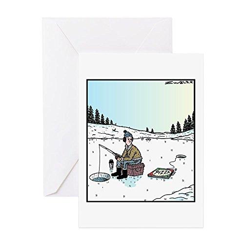 CafePress–ice-fishing Pizza Köder–Grußkarte, Note Karte, Geburtstagskarte, innen blanko, matt (Angler Eis)