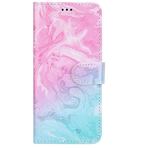 Surakey cover compatibile con ipod touch 5/ touch 6, serie di marmo flip portafoglio magnetica cover porta carte wallet case in pelle pieghevole stand protettiva cover libro,marmo rosa verde