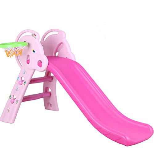 Plastica Scivolo per Bambini Pieghevole Arrampicarsi Giochi per Esterno/Interno/Giardino,Pink