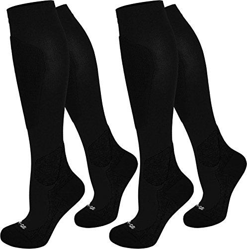 2 Paar normani® Kompressionsstrümpfe schwarz. Tolle Qualität, Spitze handgekettelt in 3 Größen erhältlich Farbe Sport/Schwarz Größe 39/42