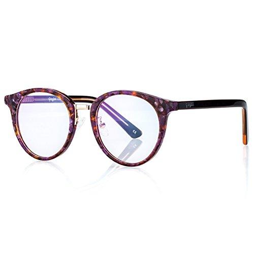Vintage Rund Brillen für Frauen, Optische Clear Lens Handgefertigt Acetat Rahmen Eyewear Purple Calico Frame