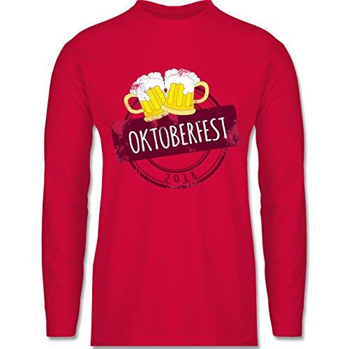 Shirtracer Oktoberfest Herren - Vintage Stempel Oktoberfest 2018 - Herren Langarmshirt Rot