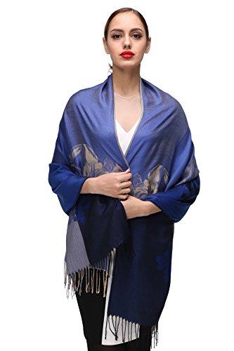 Damen Schultertuch Stola - Eleganter Pashmina Schal mit floralem Muster in vielen Farben (One Size, Blau-c076) (Designer-jeans Italienische)