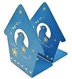 Ein Paar niedliche Baby Birds Singen Thema mit Blumen in Herzform Muster massivem Metall Buch Ständer Buchstütze Kunst für Kinder Kinder Schlafzimmer Bibliothek Schule Schreibtisch Studie Geschenk blau