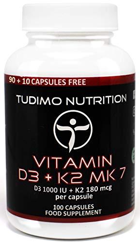 ★ Vitamin D3+K2 MK7 ★ 100/200 Stück an Schnell Auflösende Kapseln mit Hochwertigem Vit K2 als Menaquinon und Vit D3 als Cholecalciferol-Pulver, von TUDIMO
