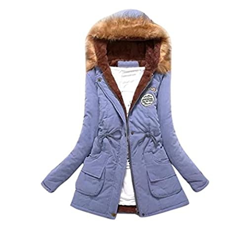 Lange Kapuzenpullover Damen Hirolan Frauen Warm Faux Pelz Kragen Jacke Schlank Winter Parka Plüsch Outwear Kaschmir Pullover Kaputzenpulli Baumwolle Wattiert Jacke (XXXL, Himmelblau)