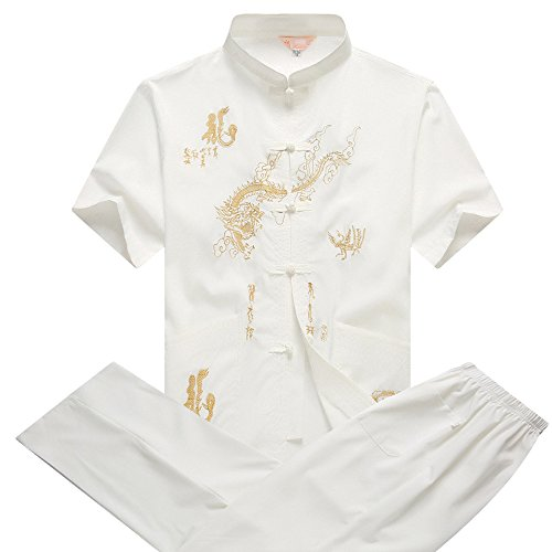 BOZEVON Traditioneller, chinesischer Anzug für Kung-Fu Uniform/Tang-Anzug/Kostüm mit Drachen-Totem, für Männer und Frauen