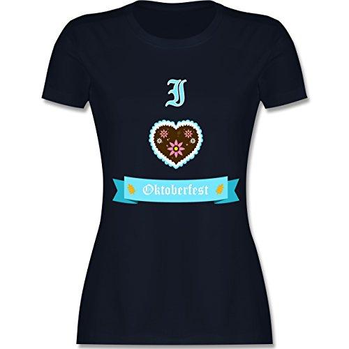 Shirtracer Oktoberfest Damen - I Love Oktoberfest - Damen T-Shirt Rundhals Navy Blau