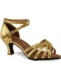 WXMDDN Zapatos de Baile Latino, Zapatos de Baile Adulto Oro 5.5cm Fondo Blando Práctica Principiante de Baile...