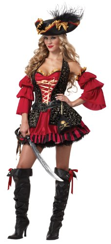 Barockes Piraten Kostüm für Damen - Deluxe (Piraten Schmuck Kostüm)