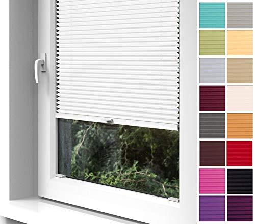 Home-Vision Premium Plissee zum Anschrauben in der Glasleiste Innenrahmen (Weiß, B60cm x H200cm) Blickdicht Plissee Jalousie mit Halterungen zum Bohren, Sonnenschutzrollo Rollo