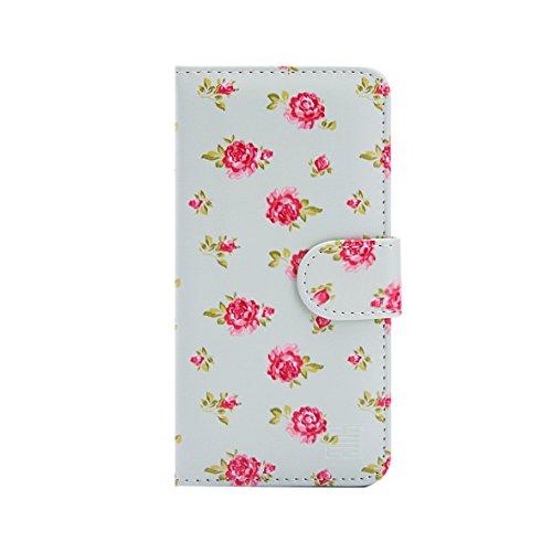 32nd Portafoglio Floreale Custodia PU Pelle per Apple iPhone 5 5S SE, Flip Case con Disegni di Fiori e Chiusura Magnetica - Primavera Blu Floral Portafoglio - Vintage Rosa Mint