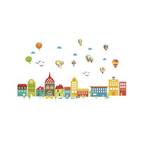 mer Cartoon Schloss Ballon Stadt Haus Aufkleber Für Kinderzimmer Kinderzimmer Kinder Schlafzimmer Wand Kunst Geburtstag Party Dekor ()