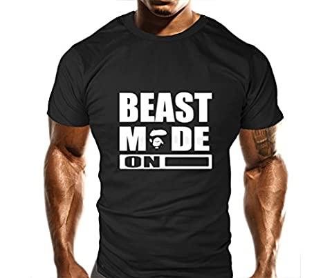 New Mens Beast Mode On Ape Gym T-Shirt - Training Top - Sports - Bodybuilding Casual Loose Fit Top (M)