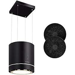 Klarstein Tron Ambience - Hotte aspirante, Mode de recirculation, Installation suspendue, 540 m³/h, Anneau LED lumineux, 3 niveaux de puissance, Contrôle simple, 2 filtres à charbon actif, Noir