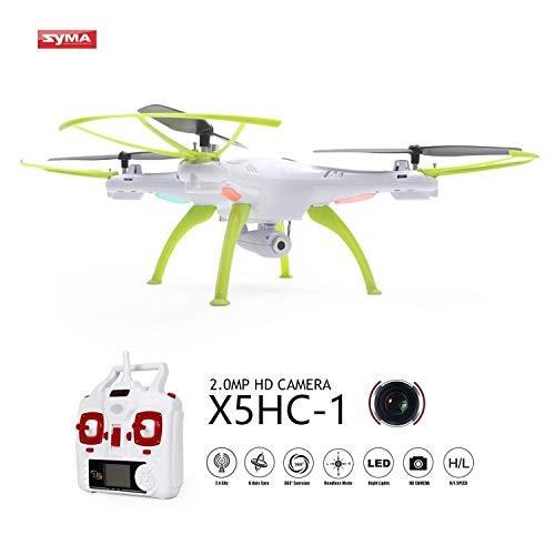 Syma X5HC-1 Drone con Cámara HD Versión Actualizada de X5C Explorers RTF 2.4GHz 4CH 6-Axis Gyro RC Cuadricópteros con Función de Estabilización de Altitud, Modo sin Cabeza y Rotación de 360° (Incluye Tarjeta de 4GB TF) (Blanco)