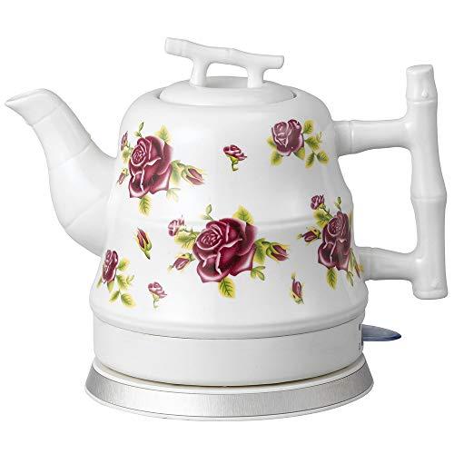 SONGYANG Wasserkocher Elektrische Keramik Weißer Wasserkocher Teekanne-Retro Automatische Abschaltung Ruhiges schnelles Kochen für Kaffee, Tee, Suppe 1.2L 1200W,Red (Tee-und Wasserkocher Ruhigen)