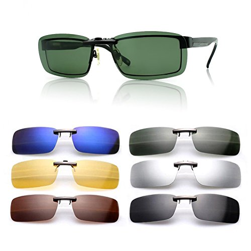 Saisze new driving polarized uv 400 lens clip-on sunglasses glasses day night vision (dark green, middle)