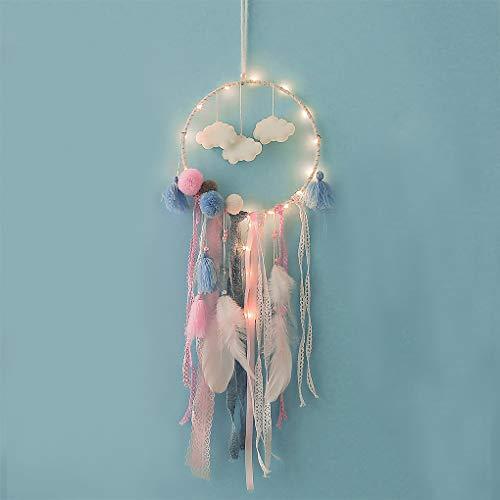 LED de Atrapasueños Décor Árbol Navidad decoración de cámara color blanco nube pluma Dream Catcher (pluma romántico Pared adorno regalo de fiesta