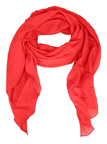 Zwillingsherz Seiden-Tuch für Damen Mädchen Uni Elegantes Accessoire/Baumwolle / Seiden-Schal/Halstuch / Schulter-Tuch oder Umschlagstuch einsetzbar - rot