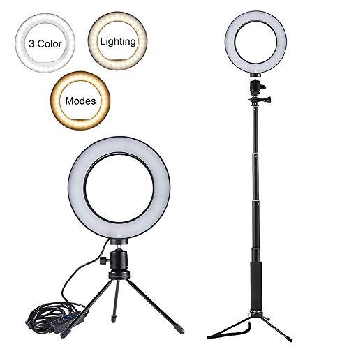 Luce Anulare, dimmerabile 64LED anulare Lampada 5500K per Live Stream/Makeup, Mini Studio Fotocamera Foto Telefono Anello di riempimento con treppiedi & Stick Selfie per Video di Youtube/Fotografia