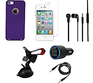 NIROSHA Tempered Glass Screen Guard Cover Case Car Charger Headphone Mobile Holder for Apple iPhone 6 - Combo