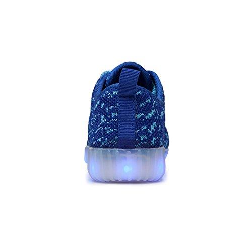 AFFINEST Unisexe Chaussures Enfant LED Light Up Sport Chaussures Respirante Confortable Sneakers 7 Farben USB Charging Bleu